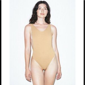 American Apparel nude backless thong bodysuit